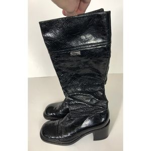 Sergio Rossi Black Leather Mid Calf Boots